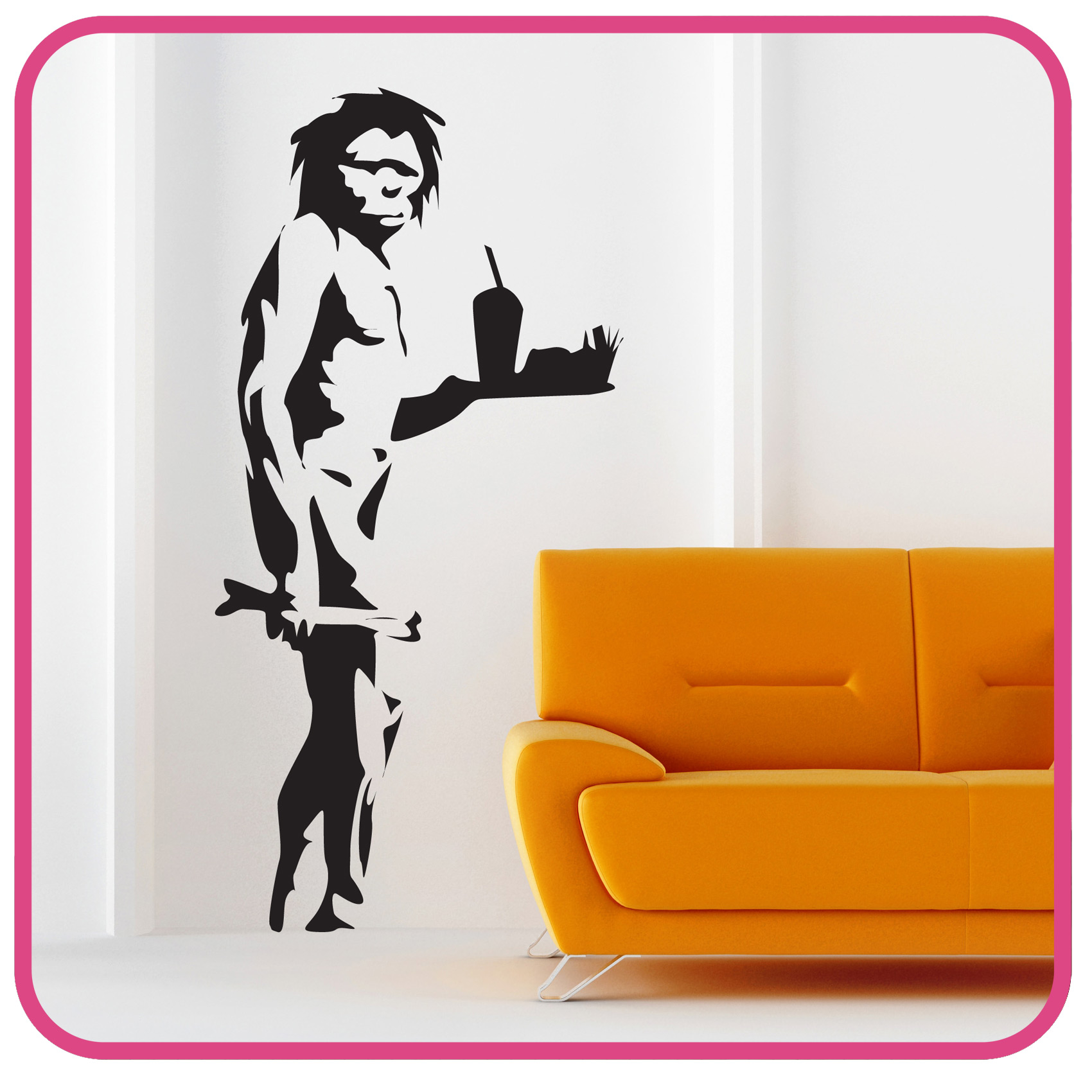 banksy style caveman takeaway wall sticker decals please use the dropdown tab at the top of the page to select your colour and size requirements
