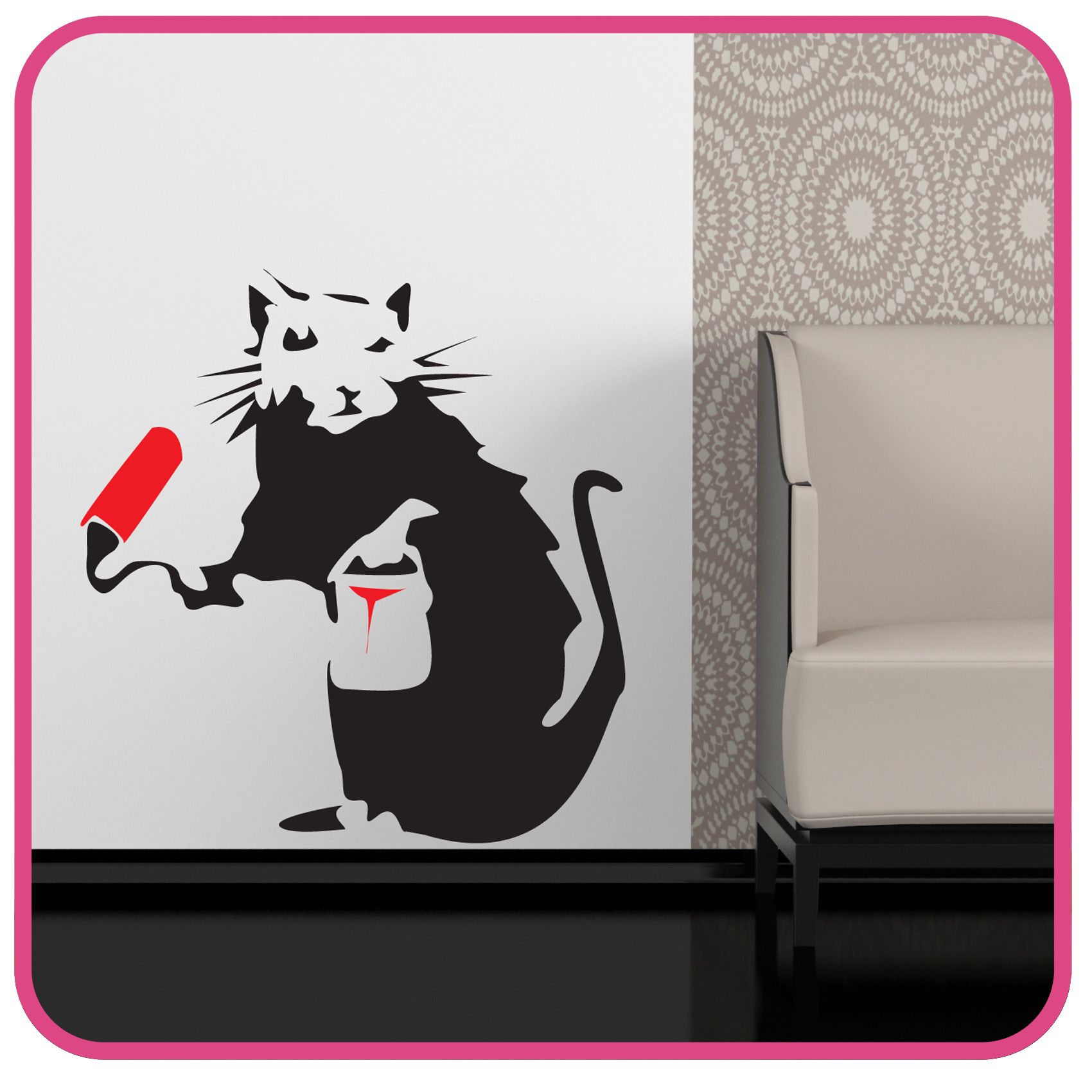 Person painting wall - Details About Banksy Style Painting Rat Wall Art Sticker Decal