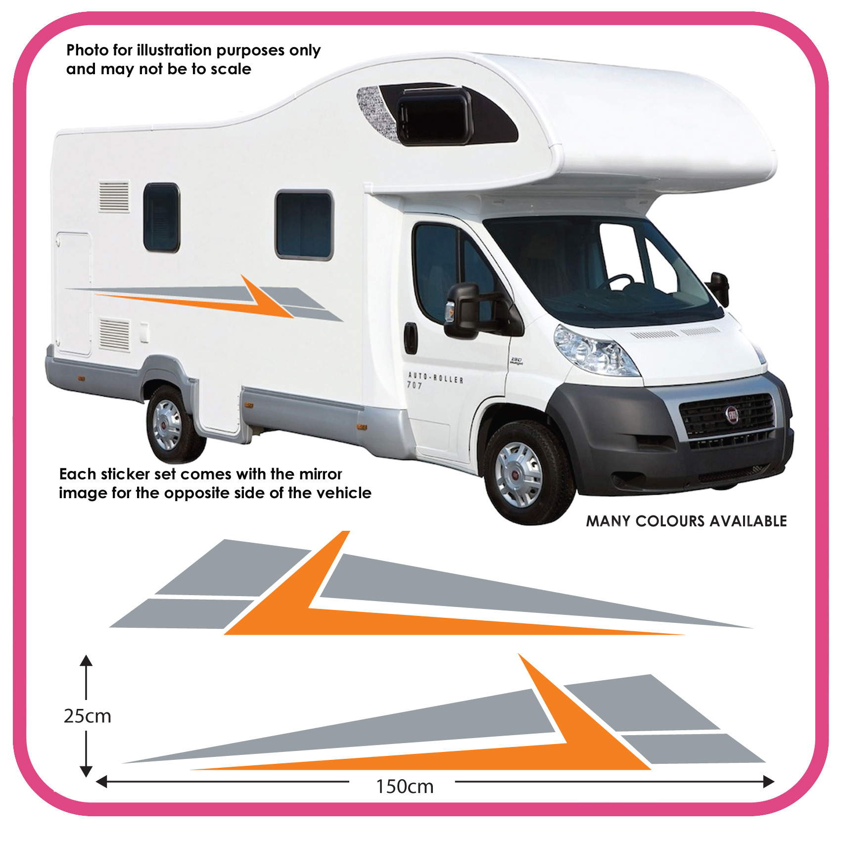 Motorhome vinyl graphics stickers decals camper van rv for Stickers exterieur pour camping car
