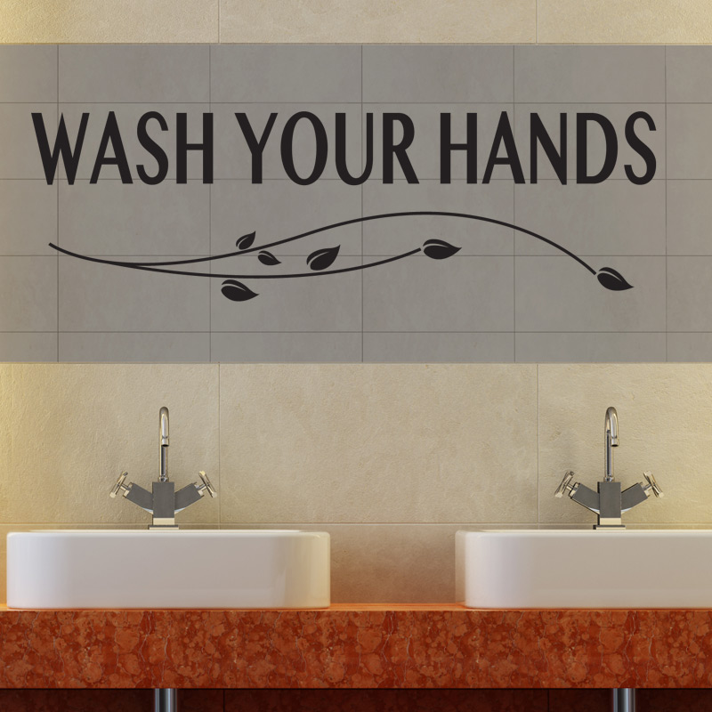 Wash Your Hands Bathroom Wall Sticker Vinyl Art Decal Quotes W100 Ebay