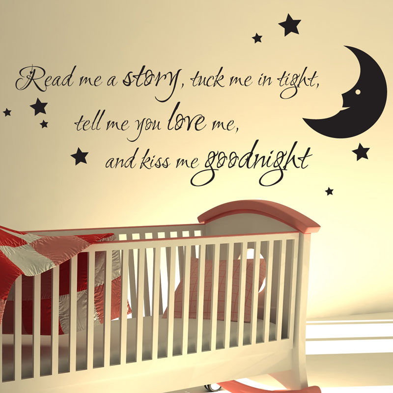 NURSERY WALL STICKER READ ME A STORY KIDS ART DECALS