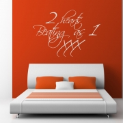 2 Hearts Beating As 1 Wall Sticker - Wall quotes
