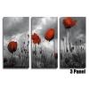 Poppy Field Storm Clouds B/W Floral