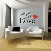 All You Need Is Love Wall Sticker 2 - Wall Quotes