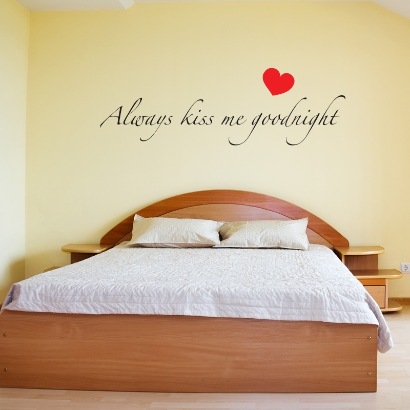Kiss Me Goodnight With Heart Wall Sticker Vinyl Quote