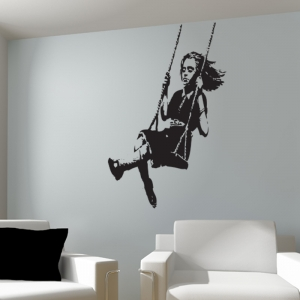 Banksy Girl On Swing Wall Sticker