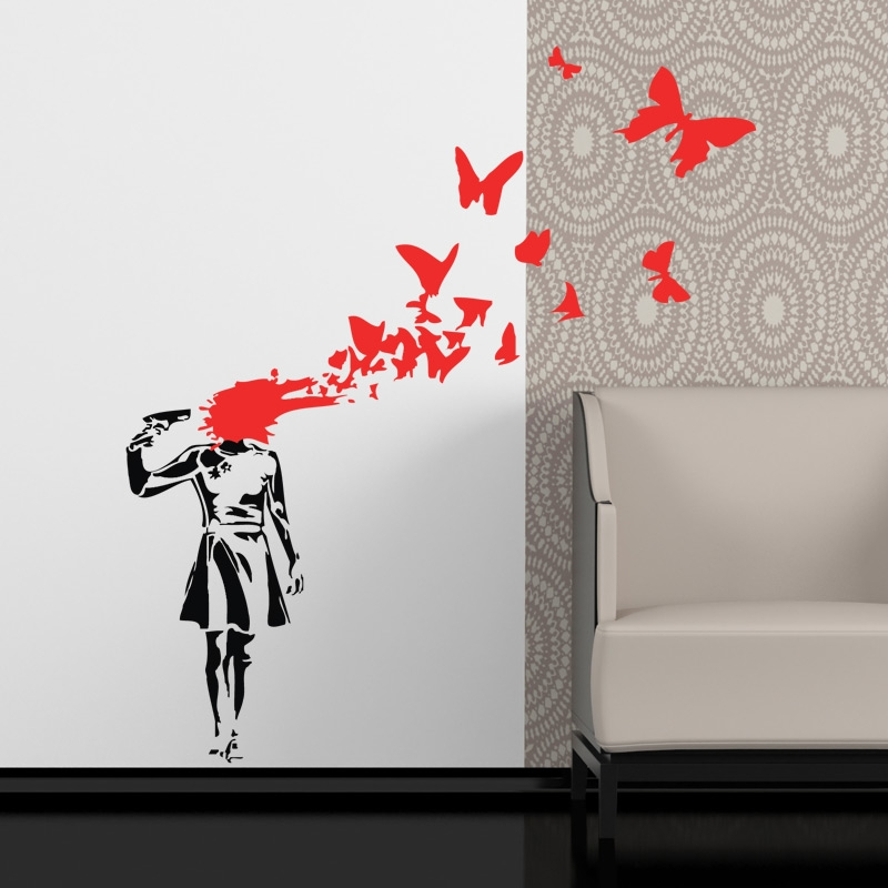 Wall Art Stickers Banksy : Banksy butterflies girl wall sticker