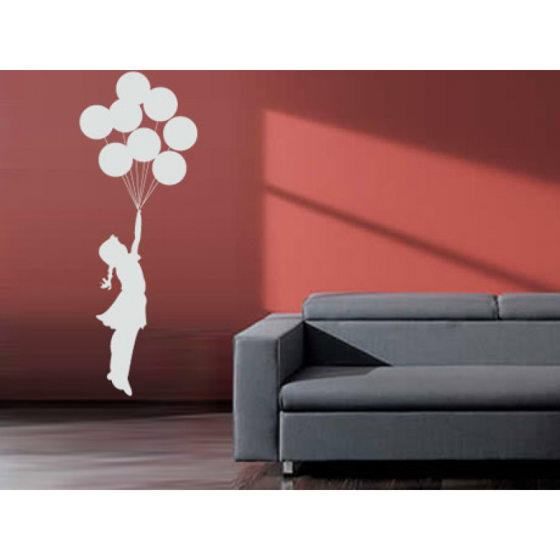 Banksy Balloon Girl Floating Away Vinyl Wall Sticker Decal