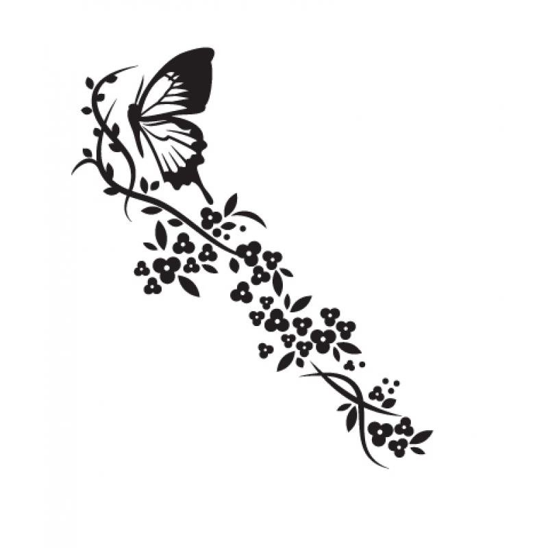 Grey and blue bathroom - Butterfly Floral Trail 2 Wall Stickers