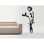 Banksy Caveman Takeaway Wall Sticker