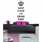 Keep Calm and Drink Wine with crown Wall Sticker - Wall Quotes