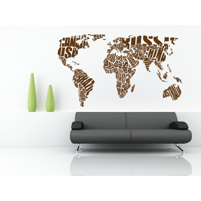 Map of the world typography 1 wall stickers map of the world typography 1 gumiabroncs Image collections