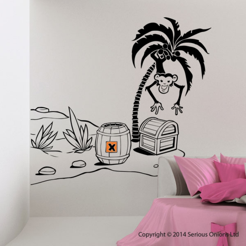 Desert Island Pirate Theme Monkey Palm Tree Treasure