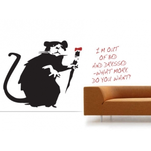 I'm Out of Bed Rat Banksy Wall Sticker