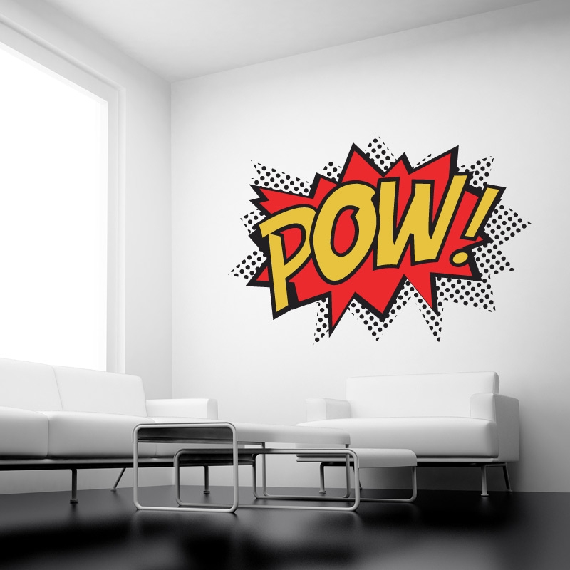 pow colour superhero punch wall stickers kids wall