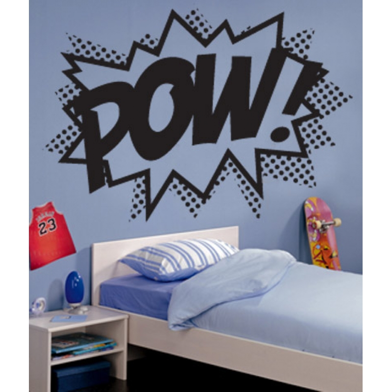 pow superhero punch wall stickers kids wall stickers wall stickers super heroes black and bat