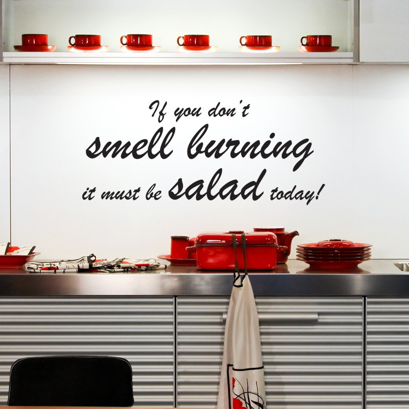 Salad wall sticker kitchen quotes wall stickers for Kitchen cabinets quotation