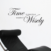 Time is precious, waste it wisely - inspiring Wall Sticker Quote