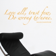 Love all, trust few Shakespeare  wall stickers Wall Quotes